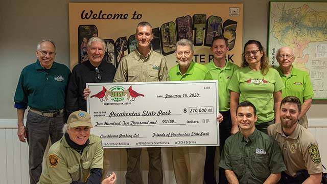 """Friends of Pocahontas State Park Raise $210,000 for Swift Creek Parking Expansion, Named """"Volunteer Organization of the Year"""""""